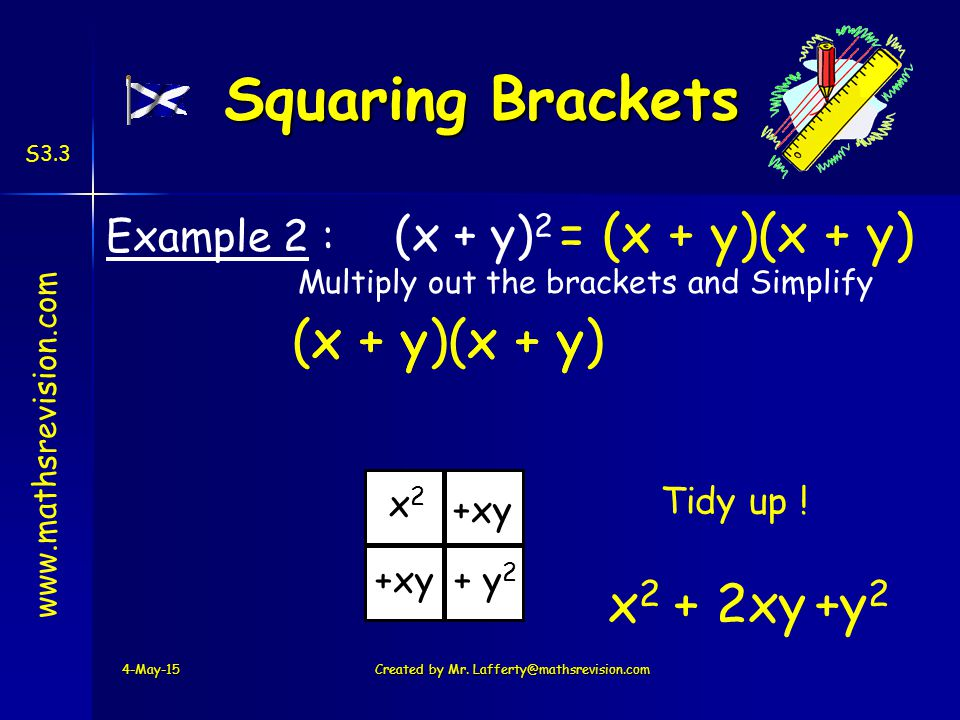 www.mathsrevision.com S3.3 Example 2 : (x + y) 2 Multiply out the brackets and Simplify 4-May-15Created by Mr.