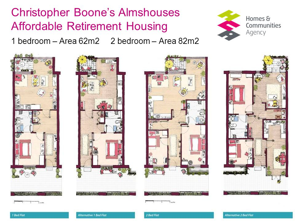 Thriving communities, affordable homes Christopher Boone's Almshouses Affordable Retirement Housing 1 bedroom – Area 62m2 2 bedroom – Area 82m2