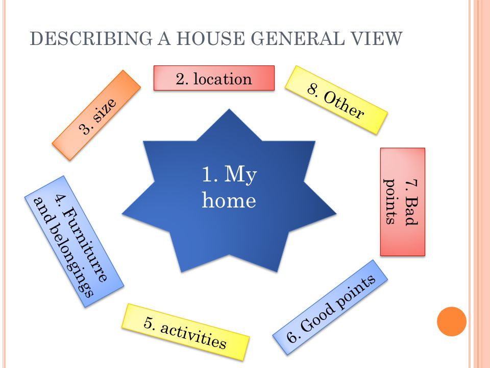 DESCRIBING A HOUSE GENERAL VIEW 1. My home 2. location 3. size 4. Furniturre and belongings 5. activities 6. Good points 7. Bad points 8. Other