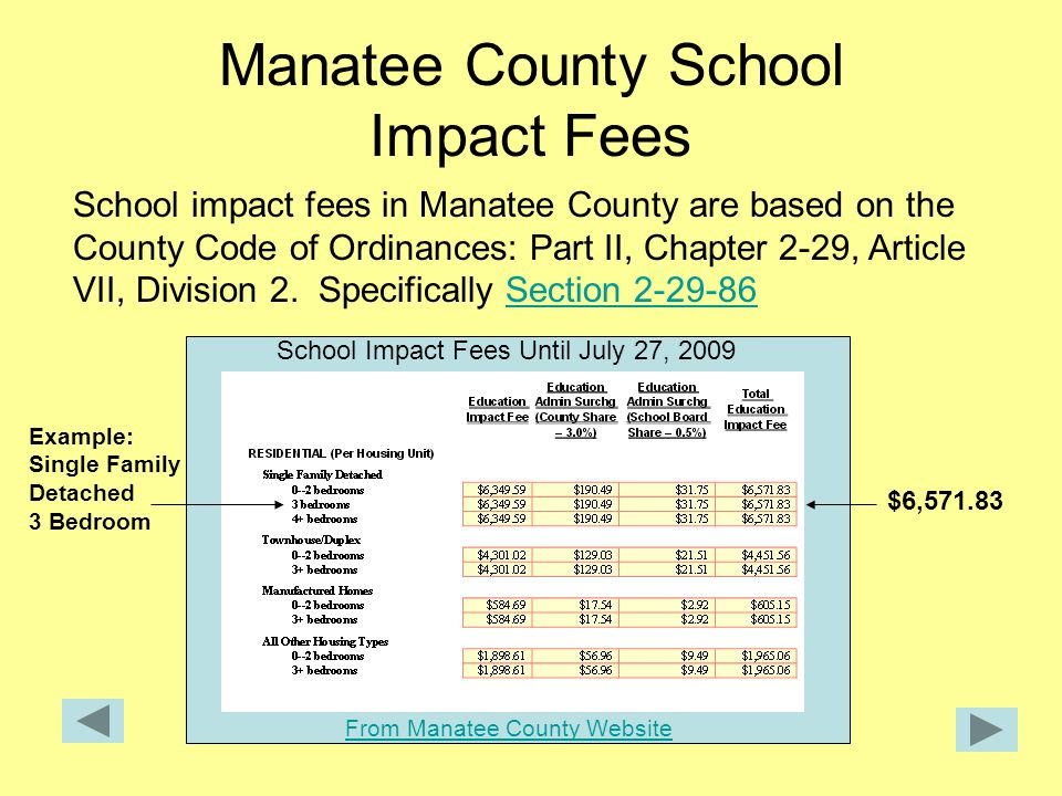 Manatee County School Impact Fees School impact fees in Manatee County are based on the County Code of Ordinances: Part II, Chapter 2-29, Article VII, Division 2.