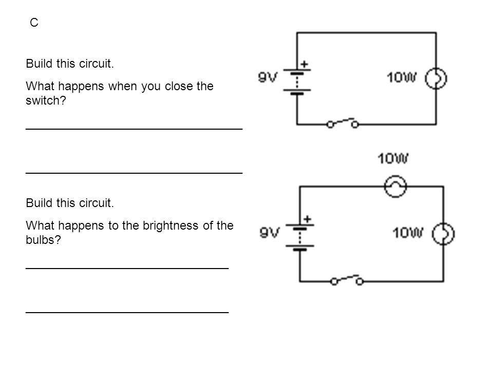 Build this circuit. What happens when you close the switch.