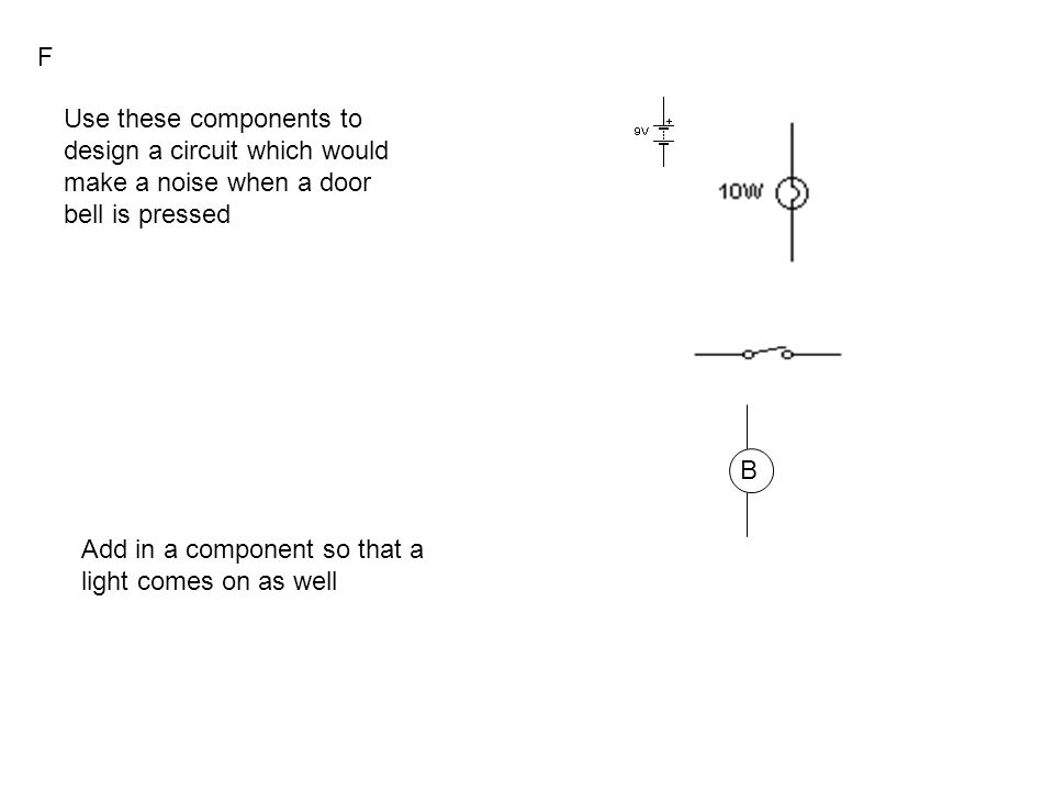 B Use these components to design a circuit which would make a noise when a door bell is pressed Add in a component so that a light comes on as well F