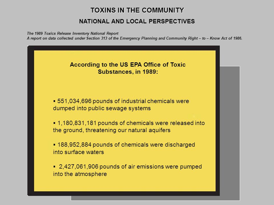 TOXINS IN THE COMMUNITY NATIONAL AND LOCAL PERSPECTIVES The 1989 Toxics Release Inventory National Report A report on data collected under Section 313 of the Emergency Planning and Community Right – to – Know Act of 1986.