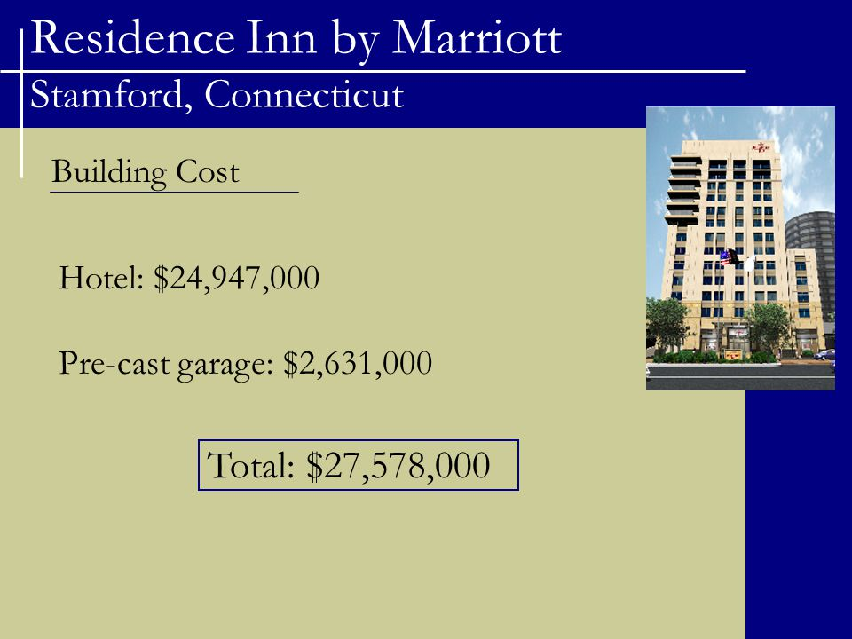 Residence Inn by Marriott Stamford, Connecticut Costs of Delayed Construction -Describe costs for delaying-