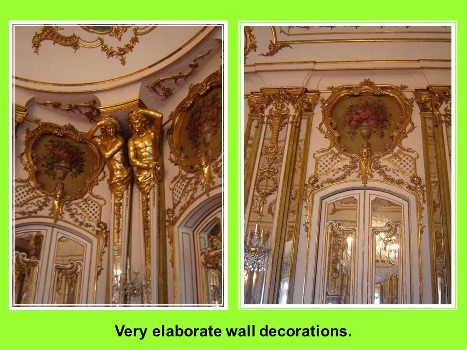 Each room is adorned with glass or crystal chandeliers.