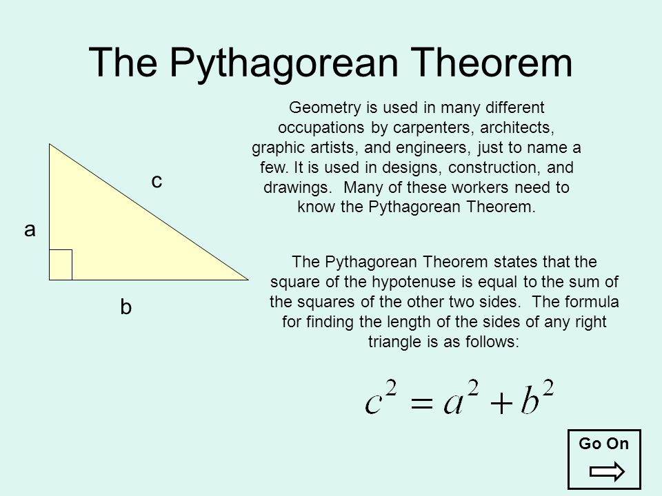 The Pythagorean Theorem a b c The Pythagorean Theorem states that the square of the hypotenuse is equal to the sum of the squares of the other two sid