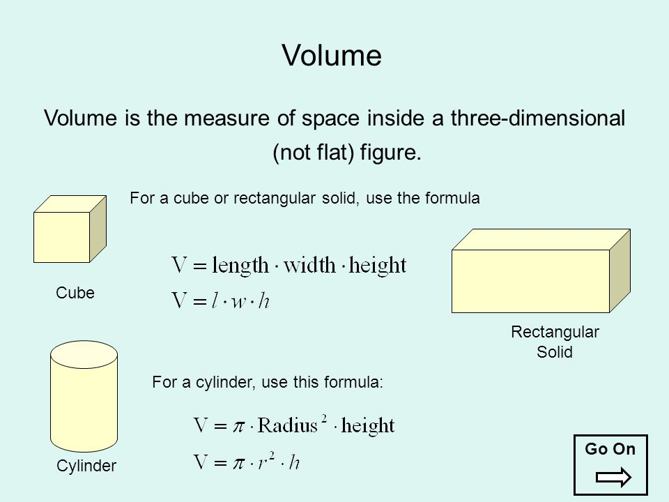 Cube For a cube or rectangular solid, use the formula For a cylinder, use this formula: Volume is the measure of space inside a three-dimensional (not