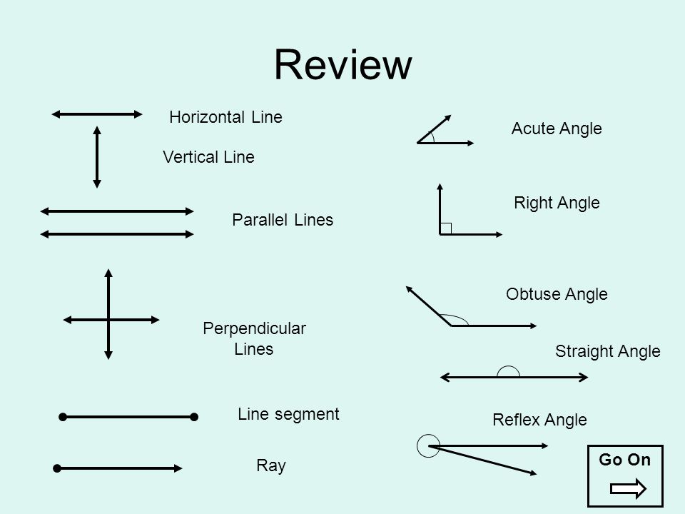Review Horizontal Line Vertical Line Parallel Lines Perpendicular Lines Line segment Ray Acute Angle Right Angle Obtuse Angle Straight Angle Reflex An