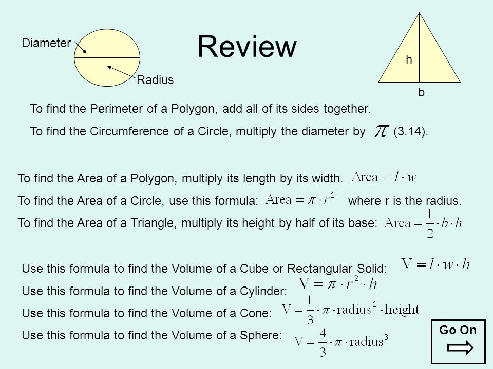 Review To find the Area of a Polygon, multiply its length by its width. To find the Area of a Circle, use this formula: where r is the radius. To find
