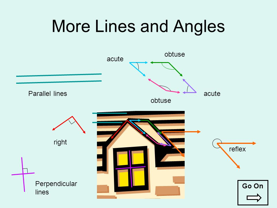 More Lines and Angles acute obtuse acute obtuse reflex right Perpendicular lines Parallel lines Go On