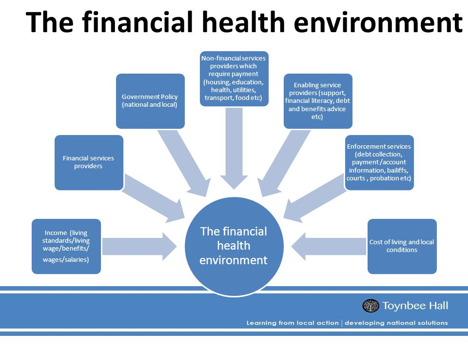 The financial health environment Income (living standards/living wage/benefits/ wages/salaries) Financial services providers Government Policy (national and local) Non-financial services providers which require payment (housing, education, health, utilities, transport, food etc) Enabling service providers (support, financial literacy, debt and benefits advice etc) Enforcement services (debt collection, payment /account information, bailiffs, courts, probation etc) Cost of living and local conditions