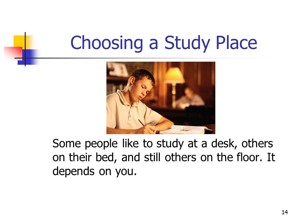 15 Distractions Your study area and your study time need to be planned to allow you to concentrate To develop good study habits, your studying should be at a regular time and place