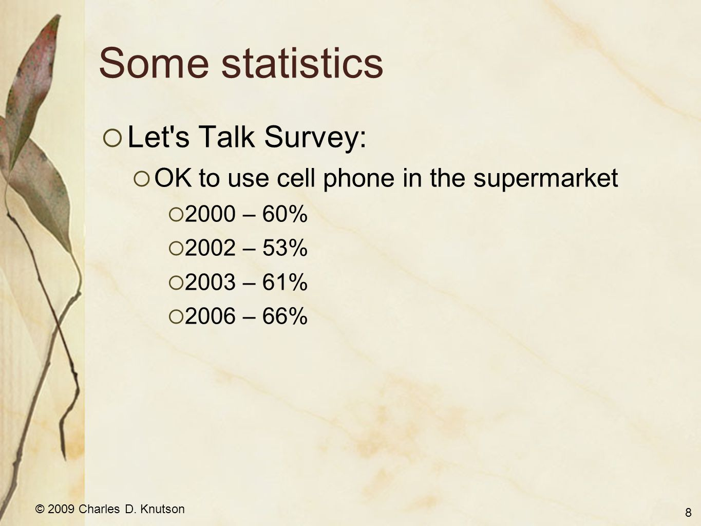 © 2009 Charles D. Knutson Some statistics  Let's Talk Survey:  OK to use cell phone in the supermarket  2000 – 60%  2002 – 53%  2003 – 61%  2006