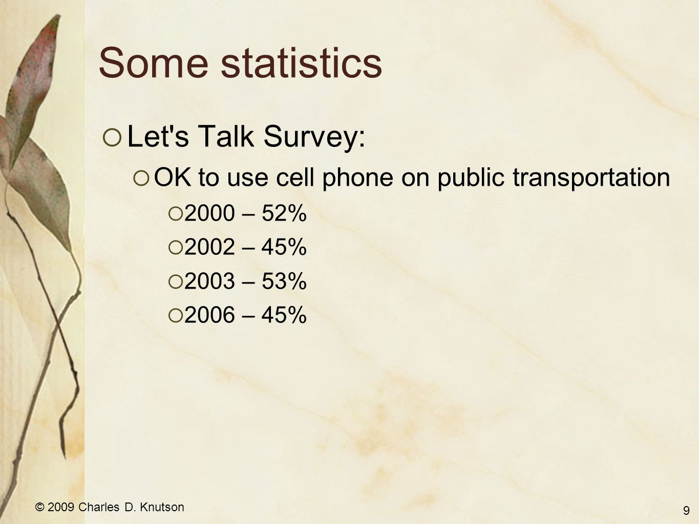 © 2009 Charles D. Knutson Some statistics  Let's Talk Survey:  OK to use cell phone on public transportation  2000 – 52%  2002 – 45%  2003 – 53%