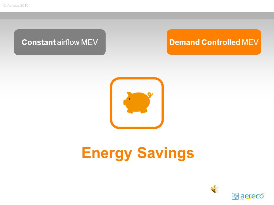 © Aereco 2010 Energy Savings Constant airflow MEV Demand Controlled MEV