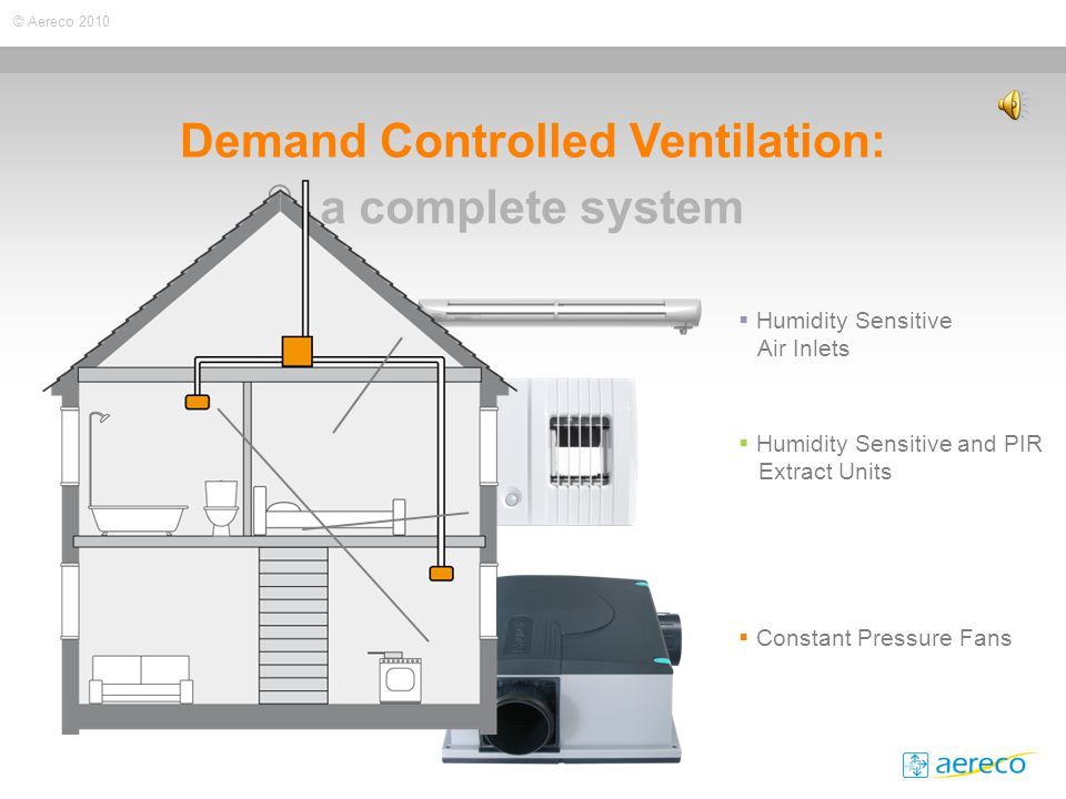 © Aereco 2010 Demand Controlled Ventilation: a complete system  Humidity Sensitive Air Inlets  Humidity Sensitive and PIR Extract Units  Constant Pressure Fans