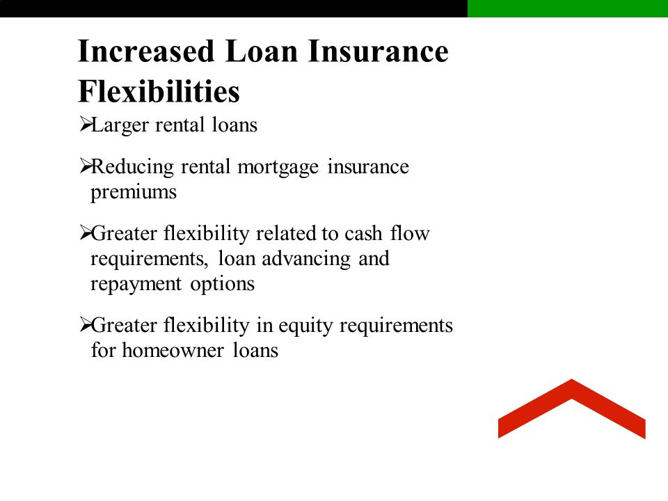 Increased Loan Insurance Flexibilities  Larger rental loans  Reducing rental mortgage insurance premiums  Greater flexibility related to cash flow requirements, loan advancing and repayment options  Greater flexibility in equity requirements for homeowner loans