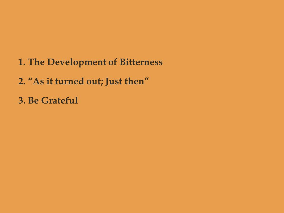 "1. The Development of Bitterness 2. ""As it turned out; Just then"" 3. Be Grateful"