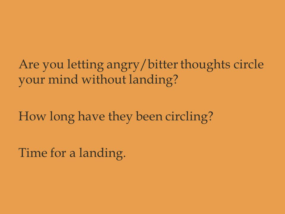 Are you letting angry/bitter thoughts circle your mind without landing? How long have they been circling? Time for a landing.