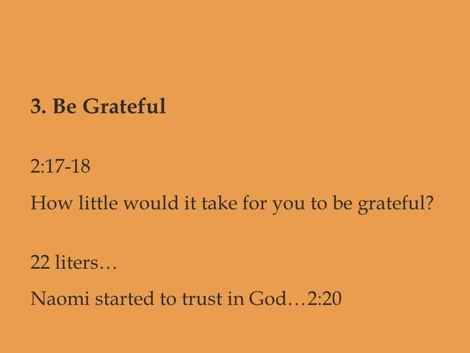 3. Be Grateful 2:17-18 How little would it take for you to be grateful? 22 liters… Naomi started to trust in God…2:20