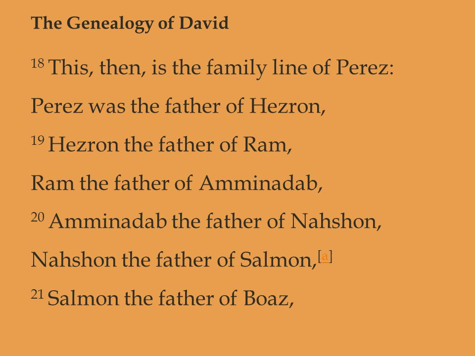 The Genealogy of David 18 This, then, is the family line of Perez: Perez was the father of Hezron, 19 Hezron the father of Ram, Ram the father of Ammi