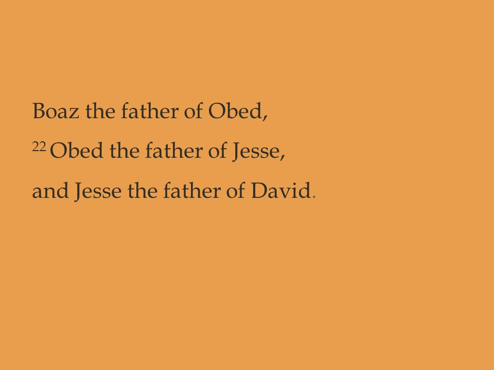 Boaz the father of Obed, 22 Obed the father of Jesse, and Jesse the father of David.