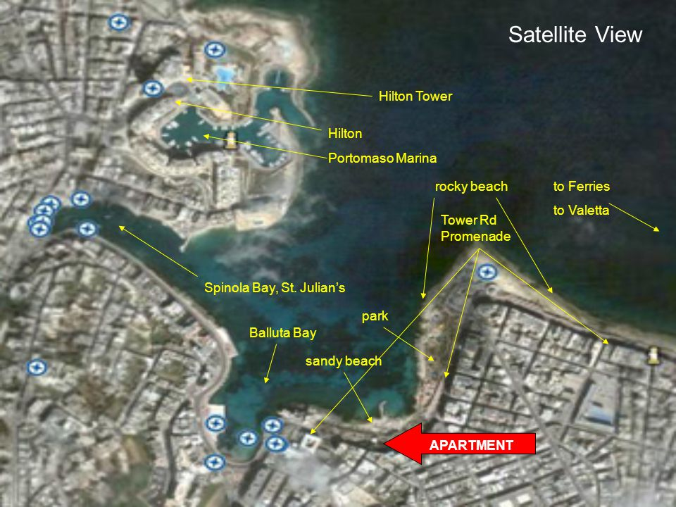 Satellite View APARTMENT sandy beach park rocky beachto Ferries to Valetta Balluta Bay Spinola Bay, St.