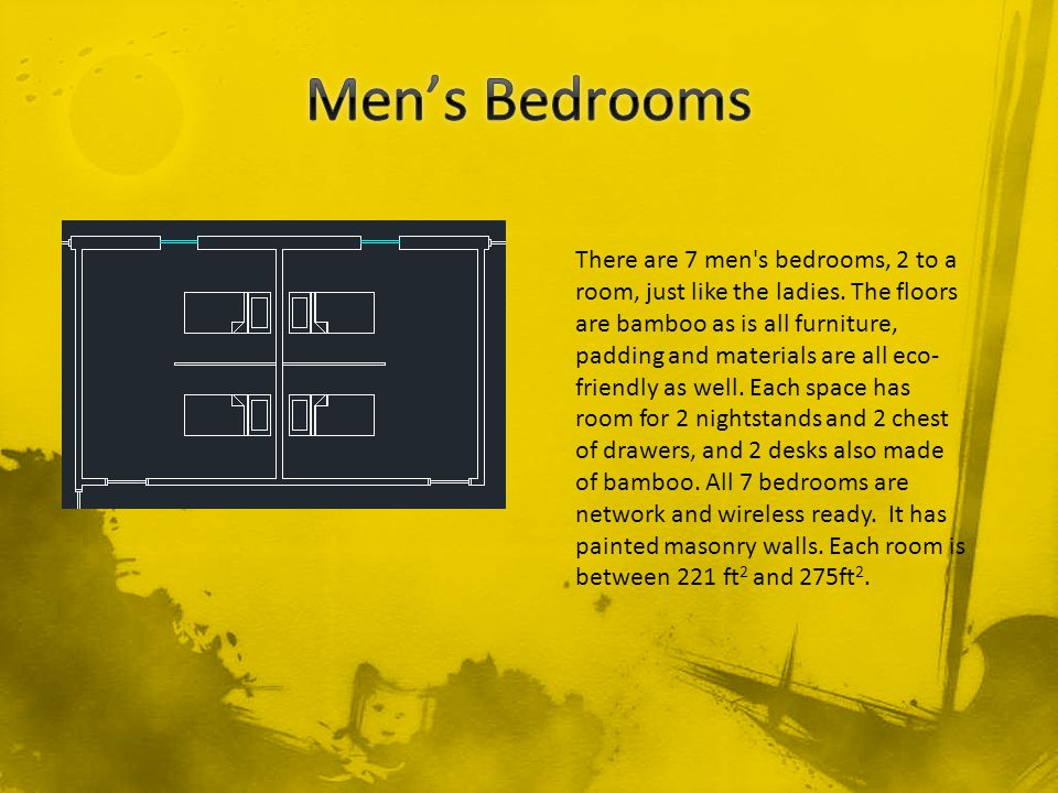 There are 7 men s bedrooms, 2 to a room, just like the ladies.