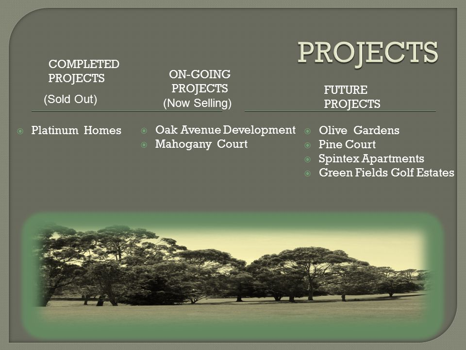 ON-GOING PROJECTS FUTURE PROJECTS  Oak Avenue Development  Mahogany Court  Olive Gardens  Pine Court  Spintex Apartments  Green Fields Golf Estates  Platinum Homes COMPLETED PROJECTS (Now Selling) (Sold Out)