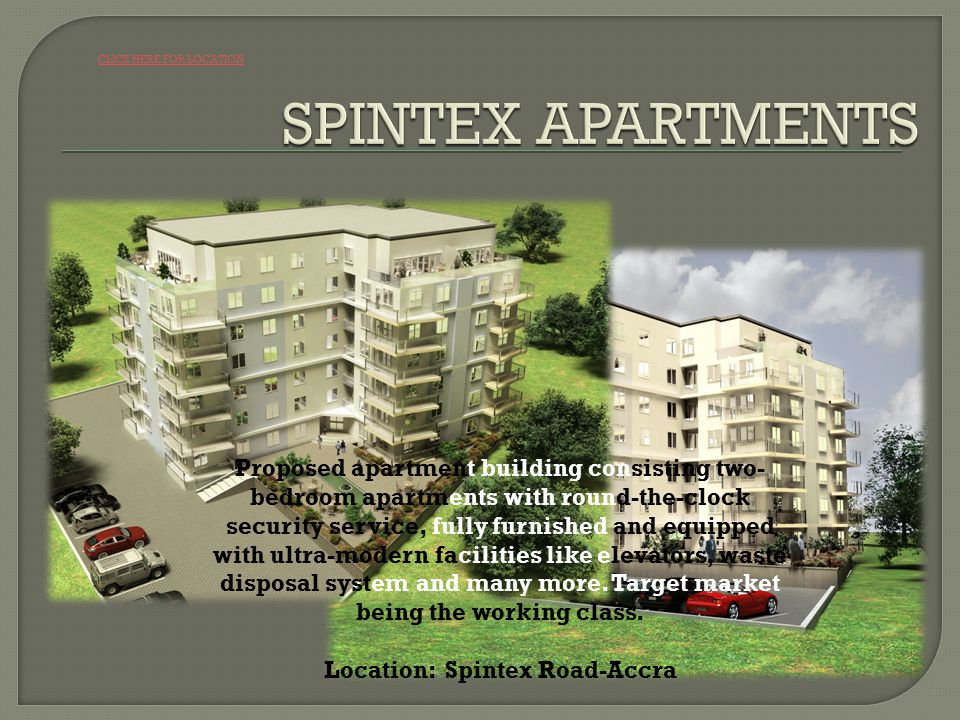 Proposed apartment building consisting two- bedroom apartments with round-the-clock security service, fully furnished and equipped with ultra-modern facilities like elevators, waste disposal system and many more.