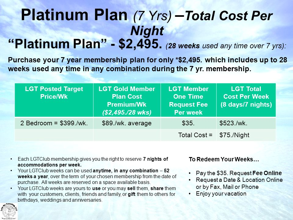 Platinum Plan (7 Yrs) – Total Cost Per Night Each LGTClub membership gives you the right to reserve 7 nights of accommodations per week.