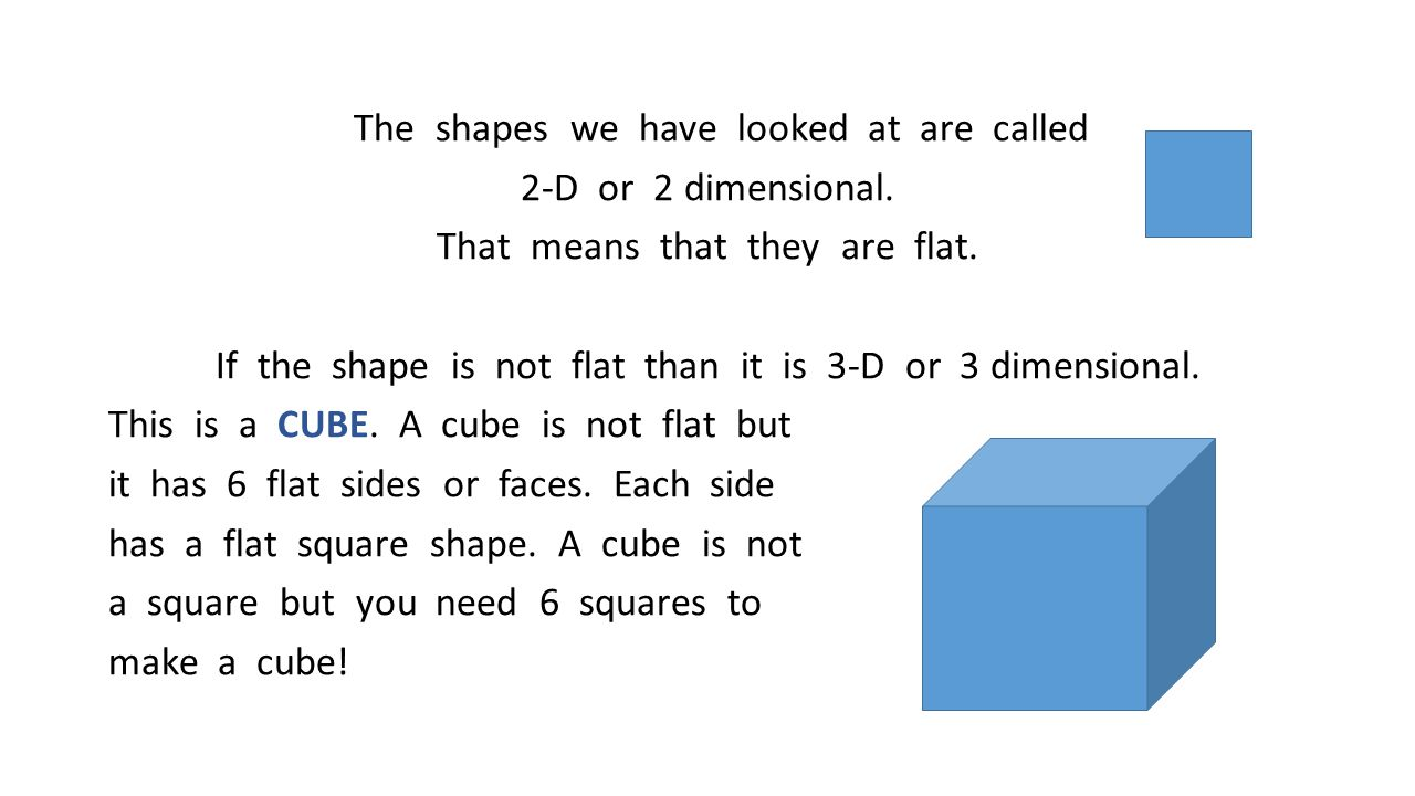 The shapes we have looked at are called 2-D or 2 dimensional. That means that they are flat. If the shape is not flat than it is 3-D or 3 dimensional.