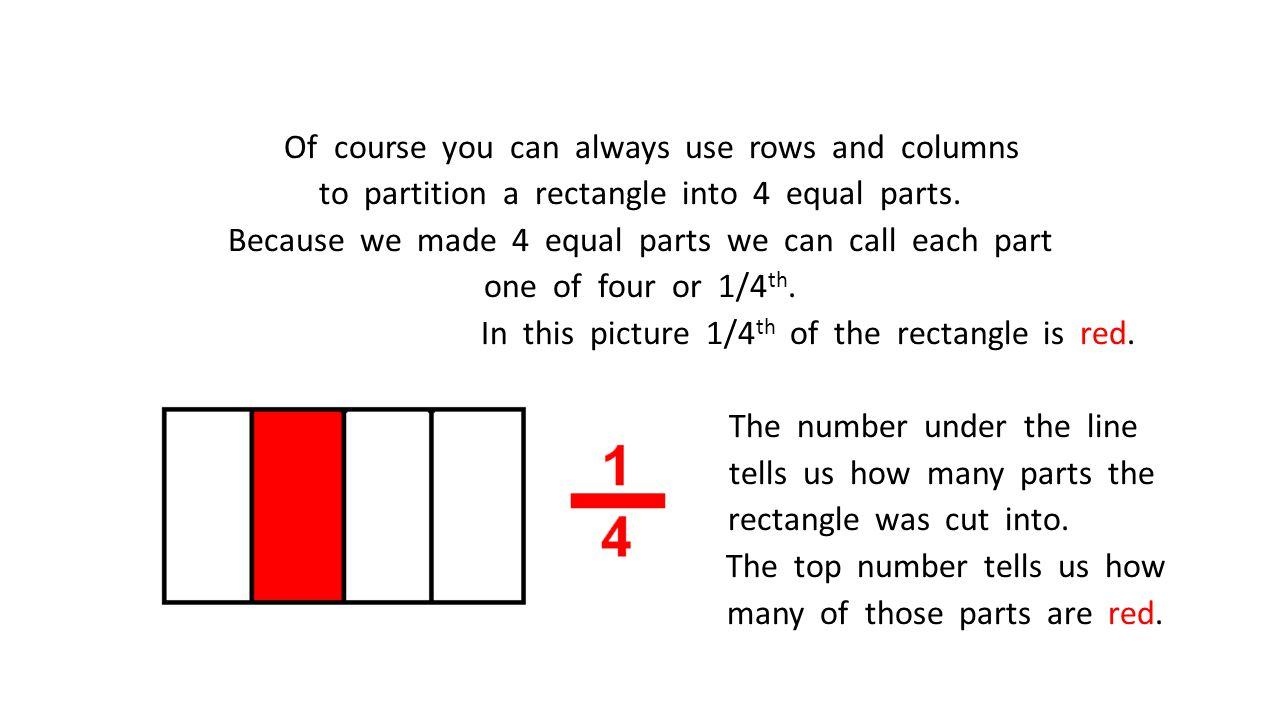 Of course you can always use rows and columns to partition a rectangle into 4 equal parts. Because we made 4 equal parts we can call each part one of