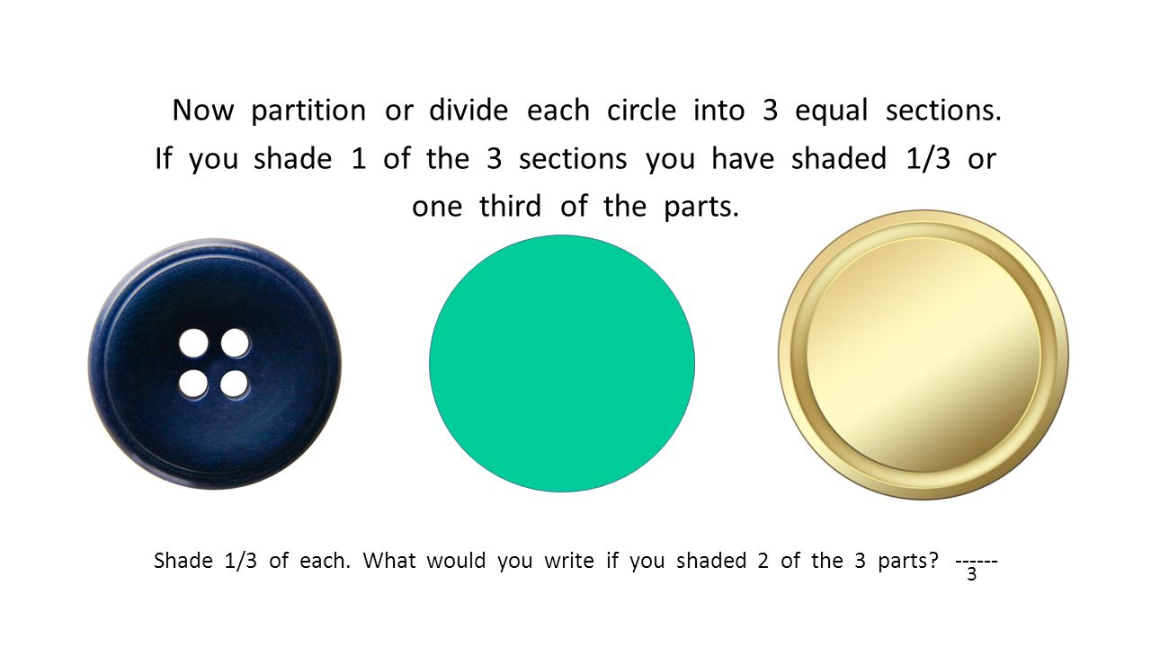 Now partition or divide each circle into 3 equal sections. If you shade 1 of the 3 sections you have shaded 1/3 or one third of the parts. Shade 1/3 o