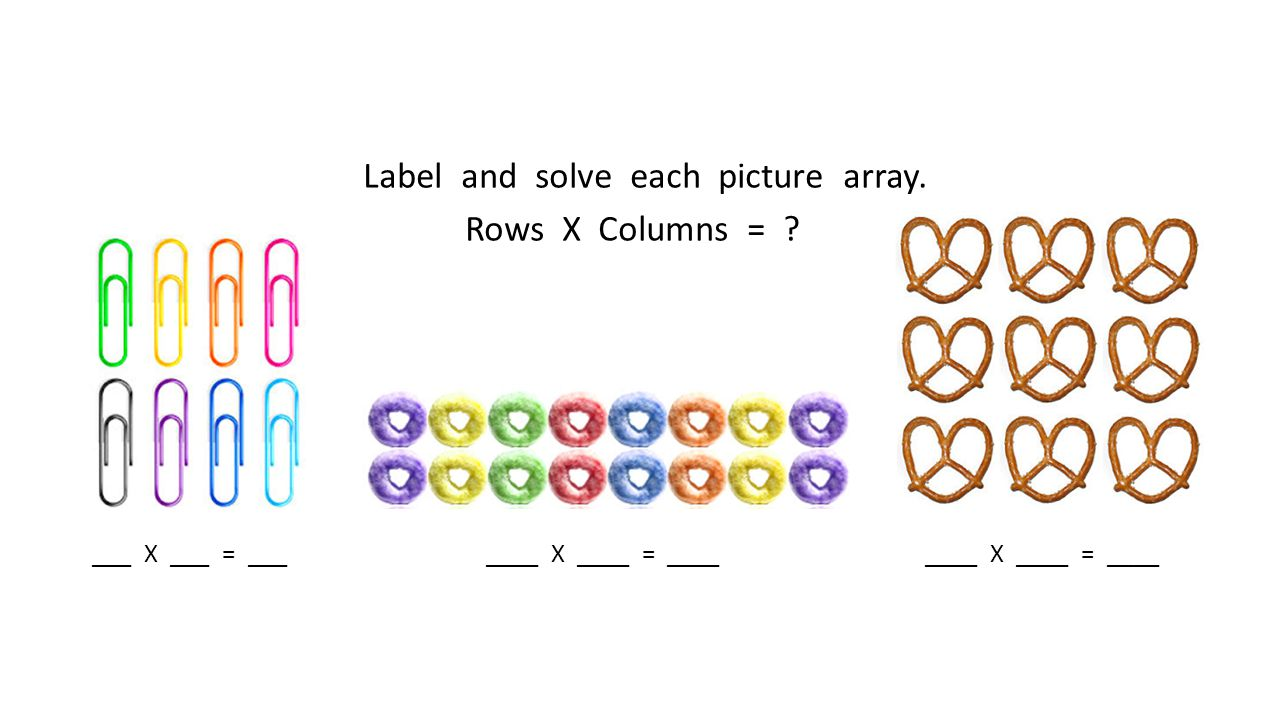 Label and solve each picture array. Rows X Columns = ? ___ X ___ = ___ ____ X ____ = ____ ____ X ____ = ____
