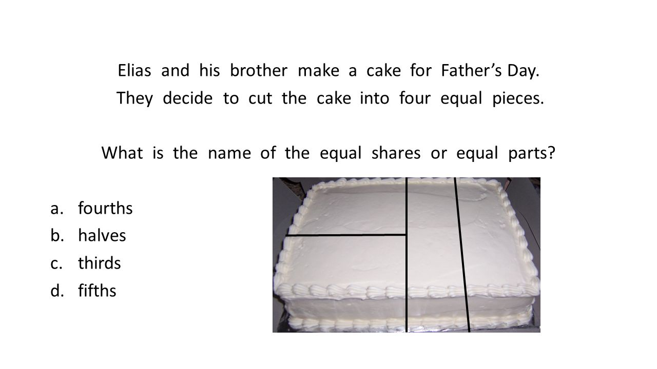 Elias and his brother make a cake for Father's Day. They decide to cut the cake into four equal pieces. What is the name of the equal shares or equal
