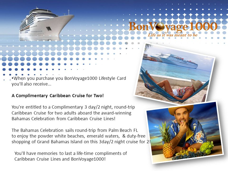 When you purchase you BonVoyage1000 Lifestyle Card you ll also receive...