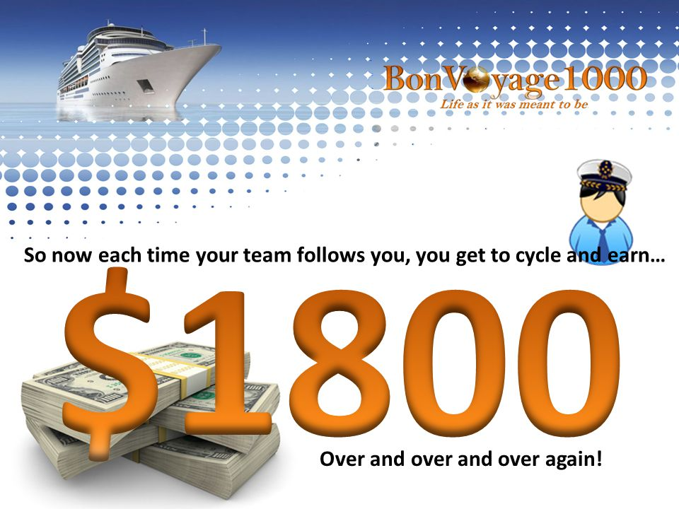 So now each time your team follows you, you get to cycle and earn… Over and over and over again!