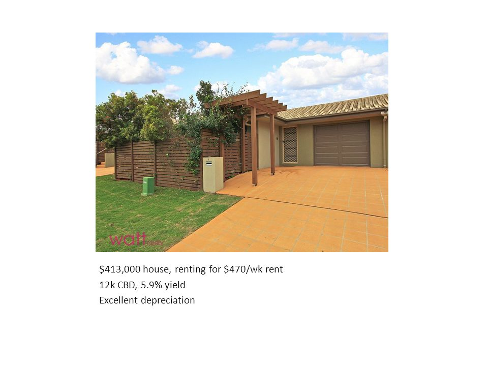 $413,000 house, renting for $470/wk rent 12k CBD, 5.9% yield Excellent depreciation