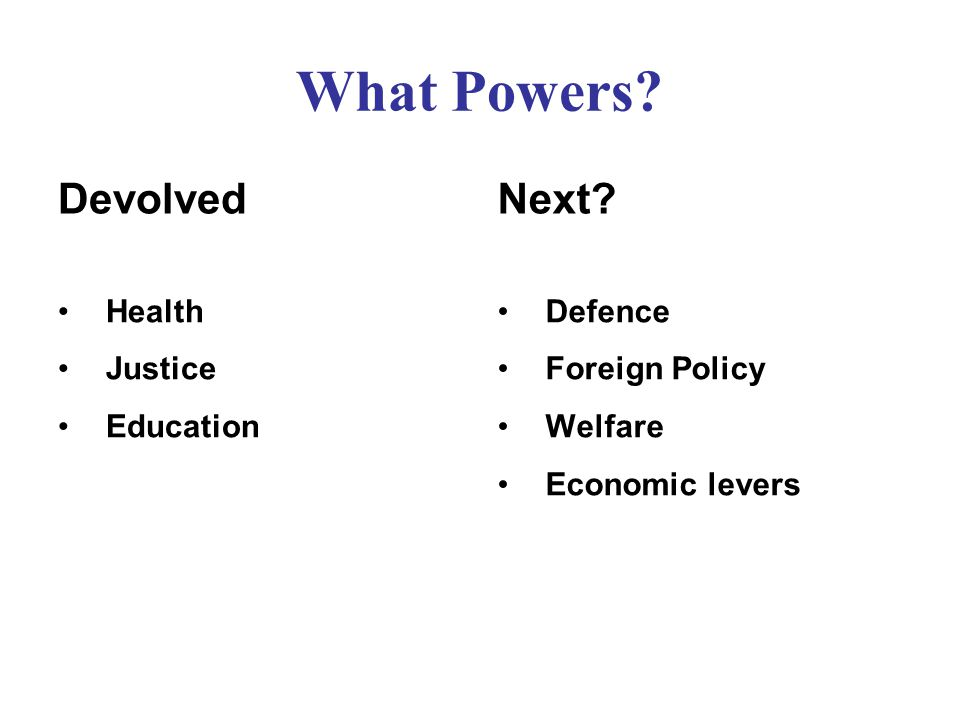 What Powers Devolved Health Justice Education Next Defence Foreign Policy Welfare Economic levers