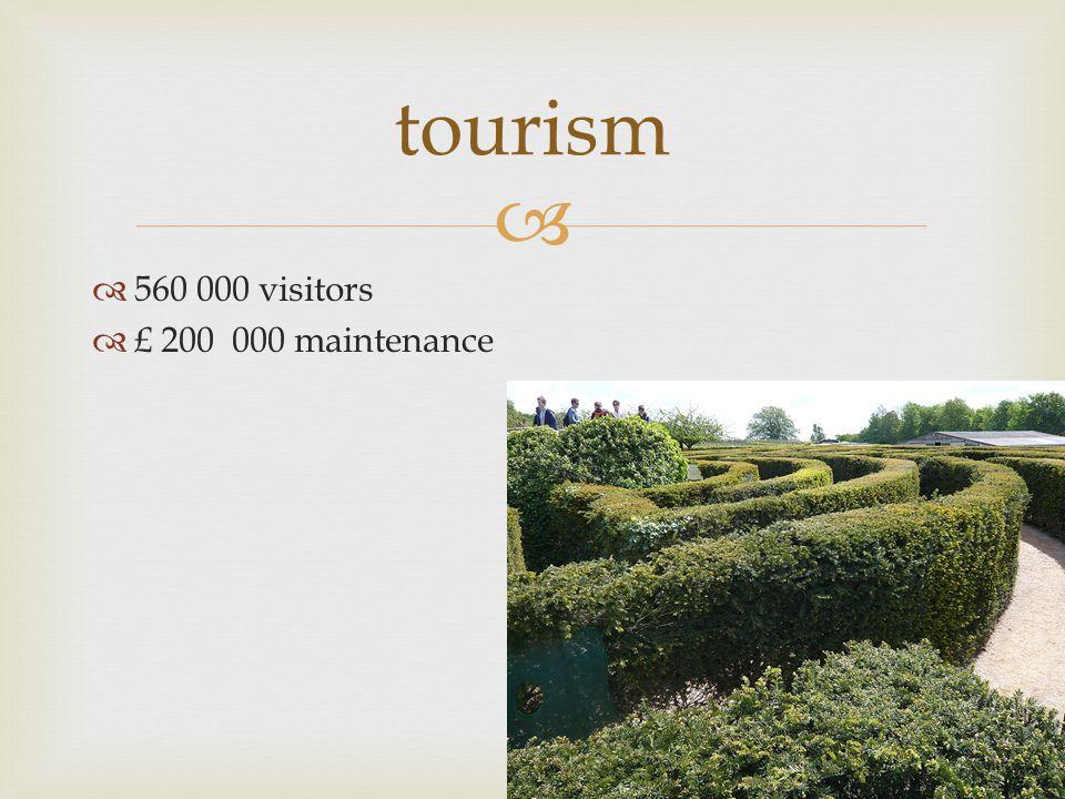  tourism  560 000 visitors  £ 200 000 maintenance