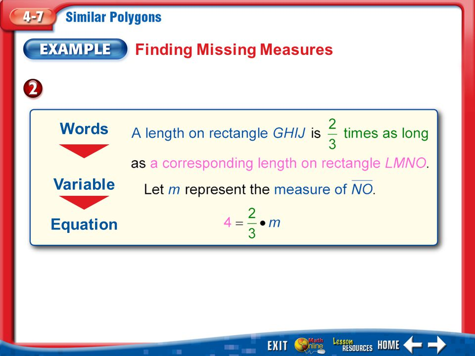 Example 2 Finding Missing Measures Words Variable Equation