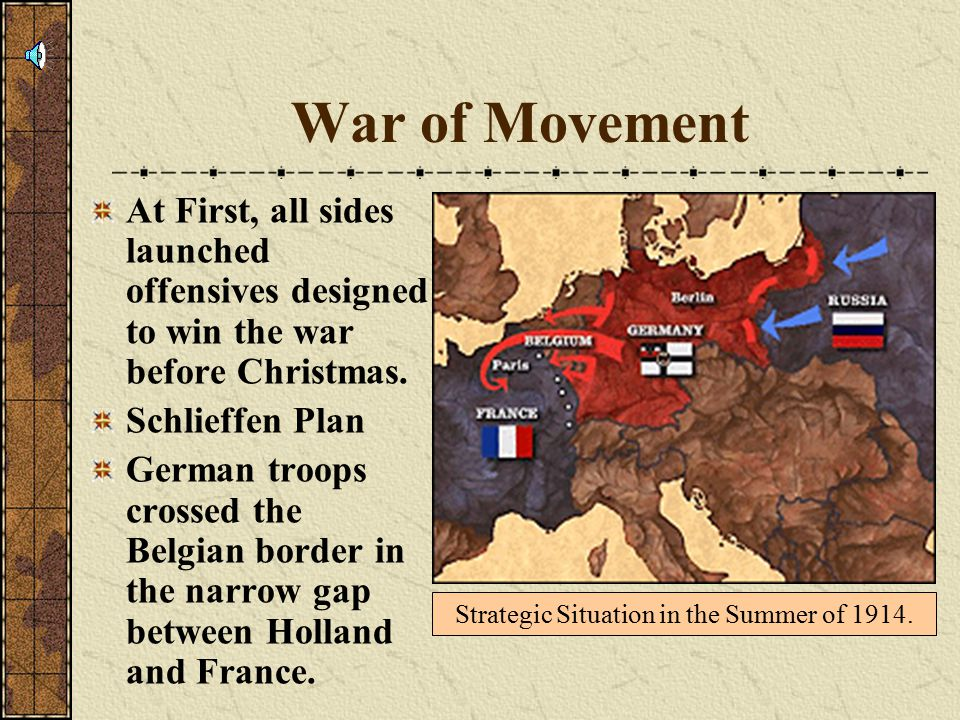 War of Movement At First, all sides launched offensives designed to win the war before Christmas.
