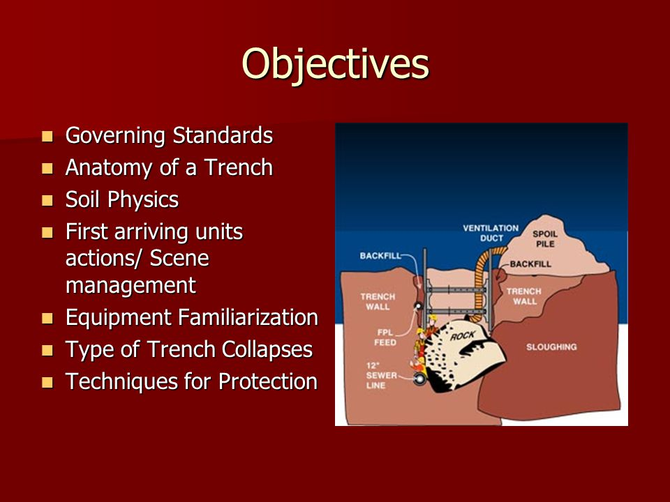 Objectives Governing Standards Governing Standards Anatomy of a Trench Anatomy of a Trench Soil Physics Soil Physics First arriving units actions/ Scene management First arriving units actions/ Scene management Equipment Familiarization Equipment Familiarization Type of Trench Collapses Type of Trench Collapses Techniques for Protection Techniques for Protection