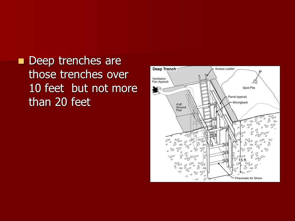 Deep trenches are those trenches over 10 feet but not more than 20 feet Deep trenches are those trenches over 10 feet but not more than 20 feet