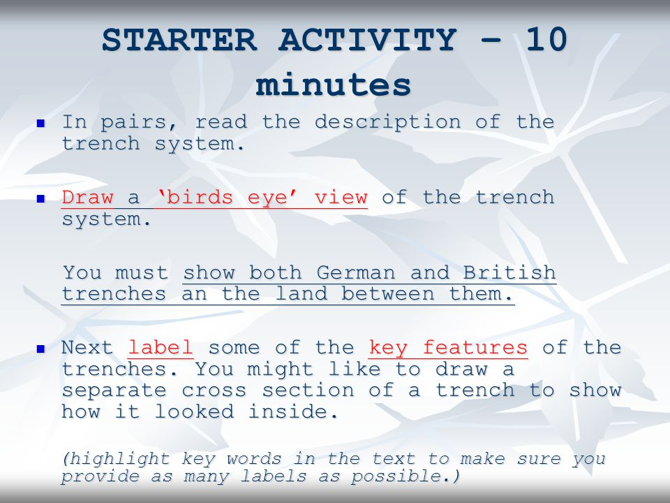 STARTER ACTIVITY – 10 minutes In pairs, read the description of the trench system.