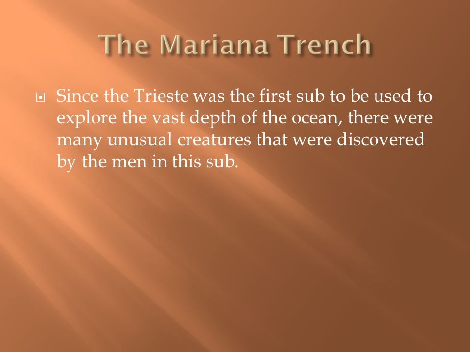  Since the Trieste was the first sub to be used to explore the vast depth of the ocean, there were many unusual creatures that were discovered by the men in this sub.