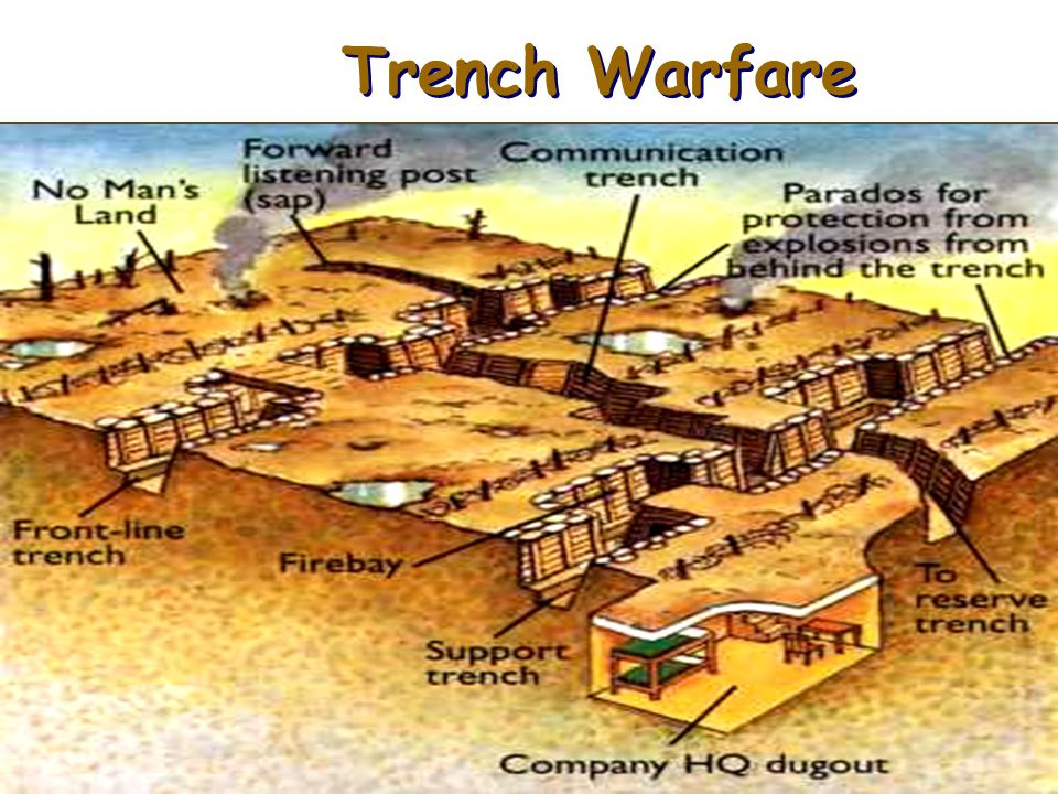 How they built the trenches Built all along the Western Front---476 miles of trenches Also used in Battle of Galliopoli; however the design was differ