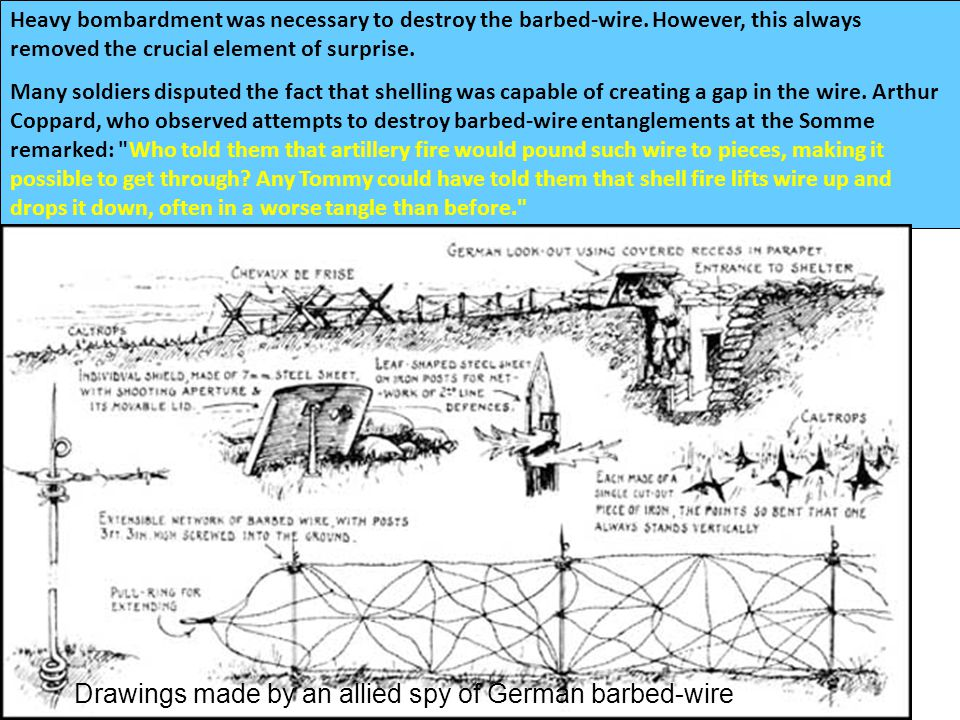 BARBED WIRE Trenches on the Western Front were protected by thick barbed-wire entanglements. Being a member of a wiring party was one of the most unpo