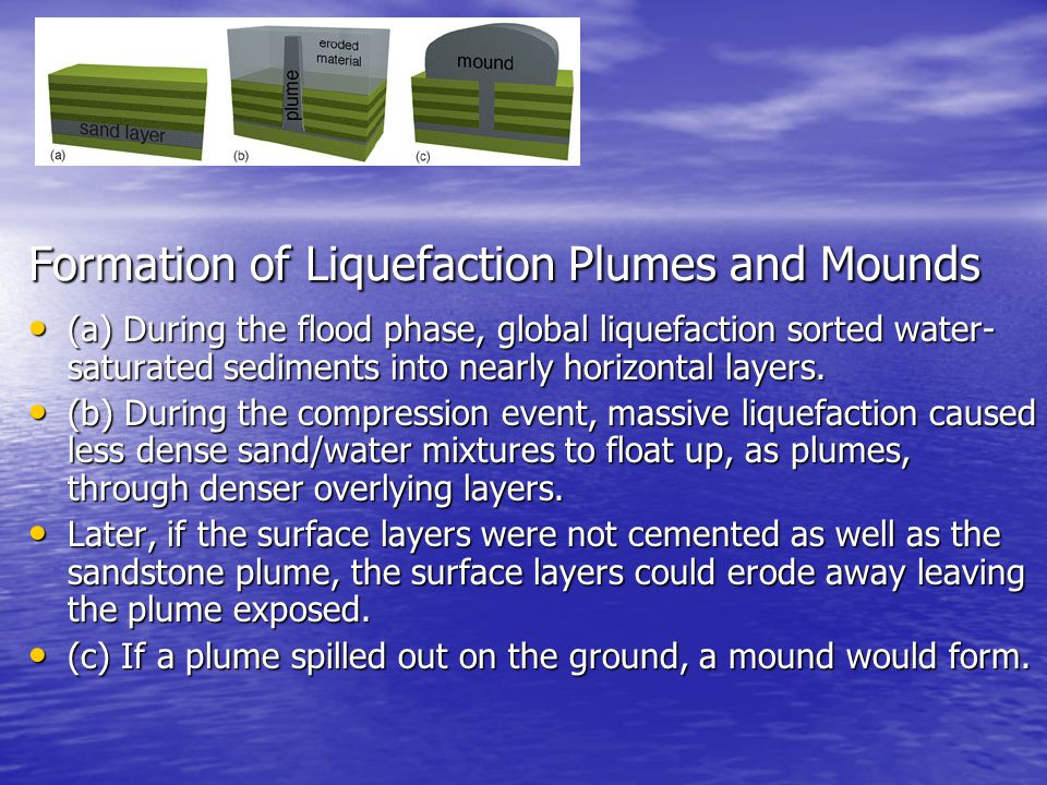 Formation of Liquefaction Plumes and Mounds (a) During the flood phase, global liquefaction sorted water- saturated sediments into nearly horizontal l